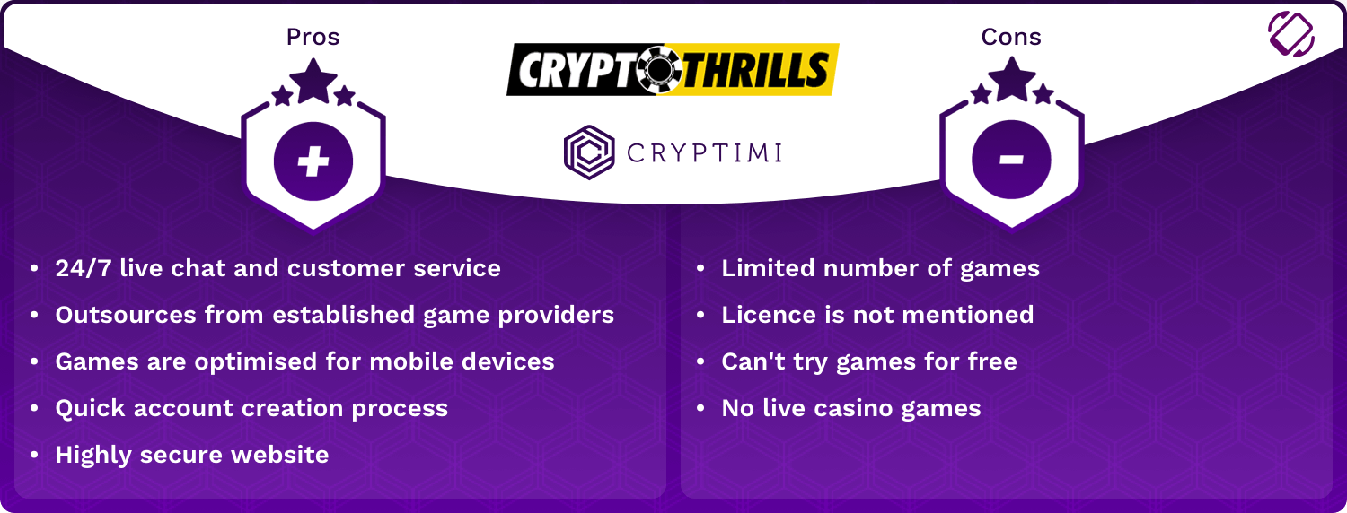 CryptoThrills Pros and Cons