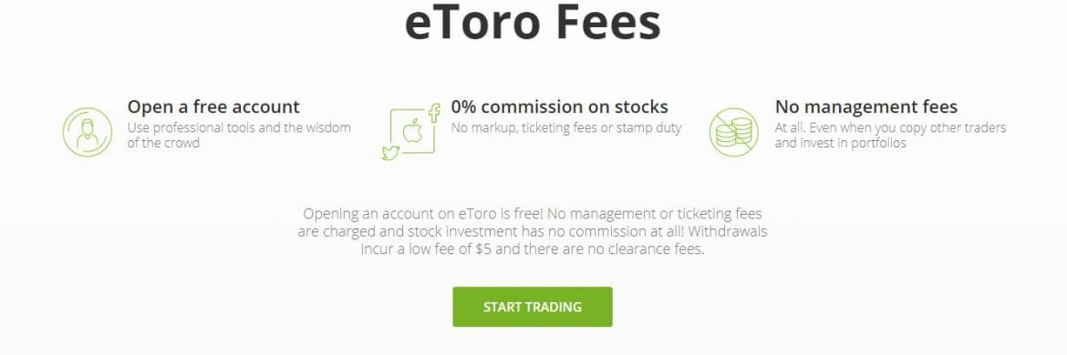 eToro Launch Simplified Fee Page