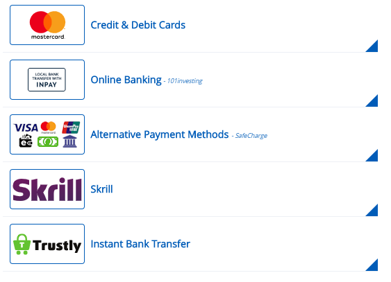 101Investing Payment Methods