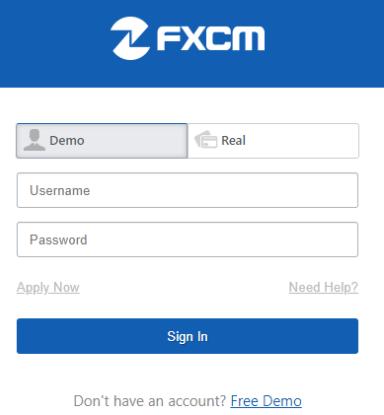 FXCM Login Page