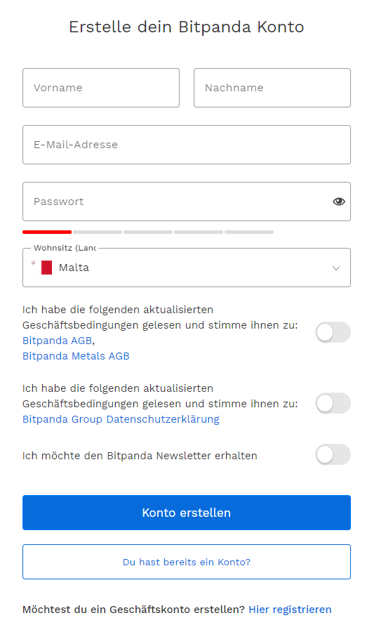 Bitpanda-Registerseite