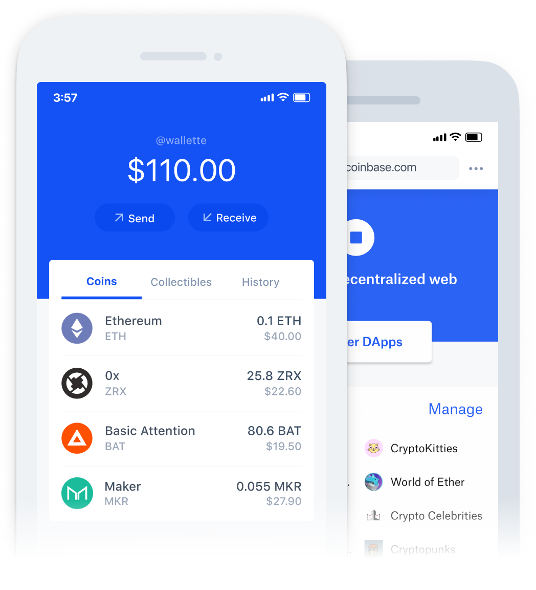 Coinbase wallet UI on phone