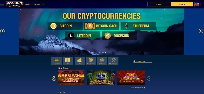 Konung Casino Landing page