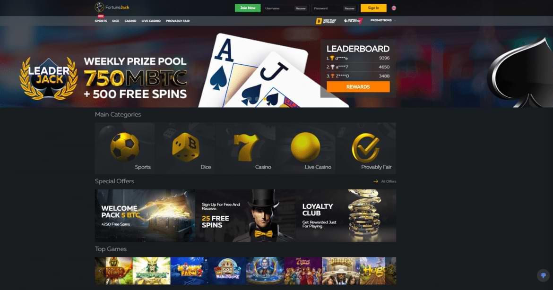 Fortunejack Casino Homepage