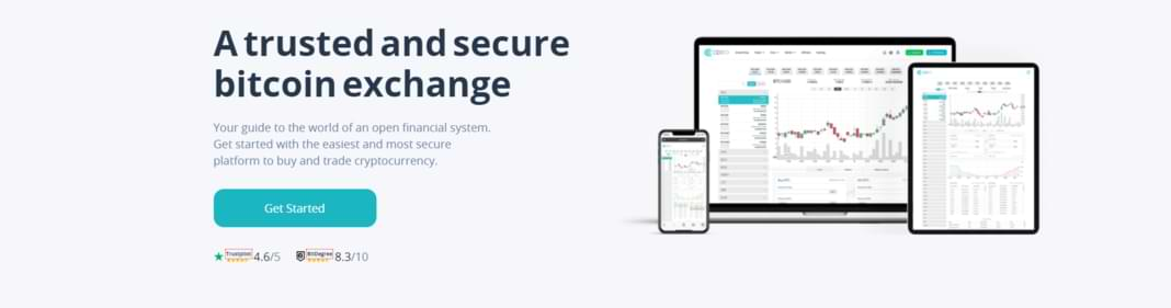 CEX.io trading landing page