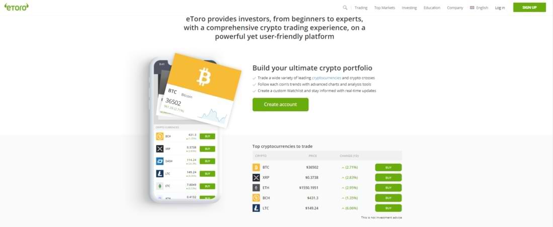 Bitcoin trading landing on eToro