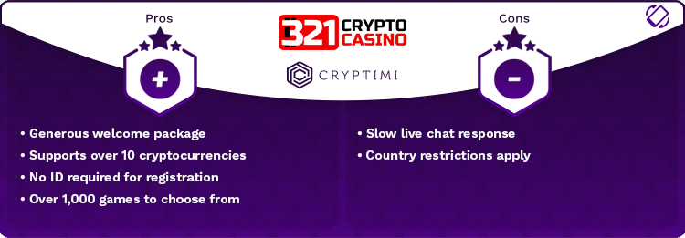 321CryptoCasino Pros and Cons