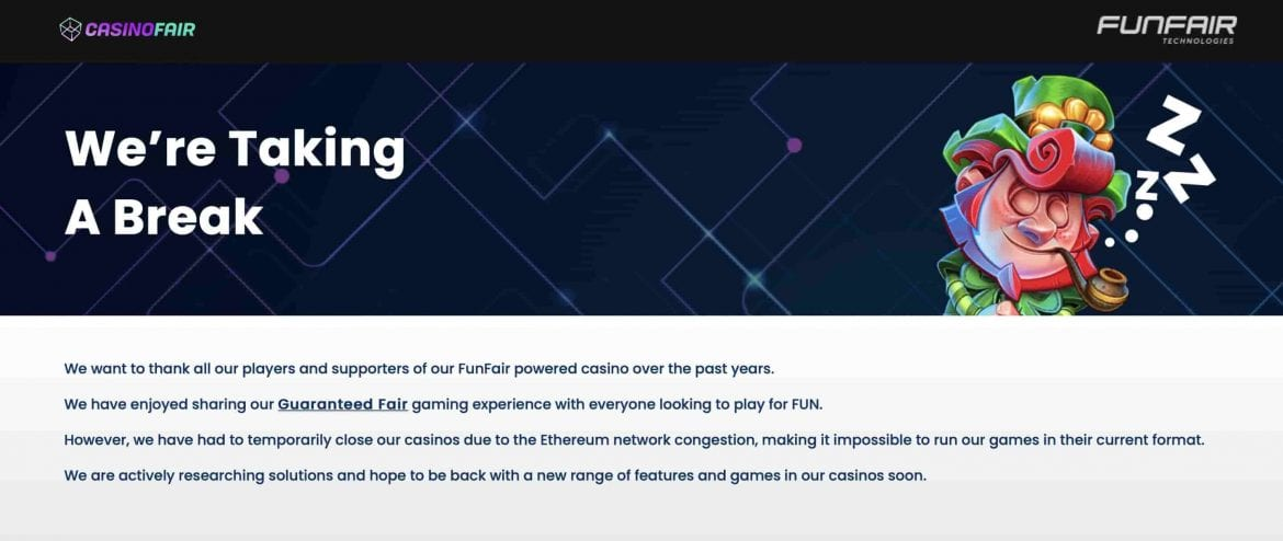 CasinoFair Temporarily Shuts Down Amid Network Congestion
