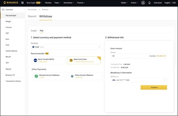 Withdraw funds on Binance
