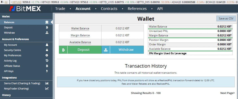 BitMex-Exchange Wallet