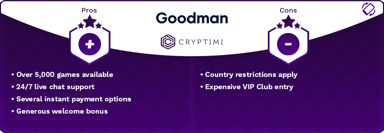 Goodman casino pros and cons infographic