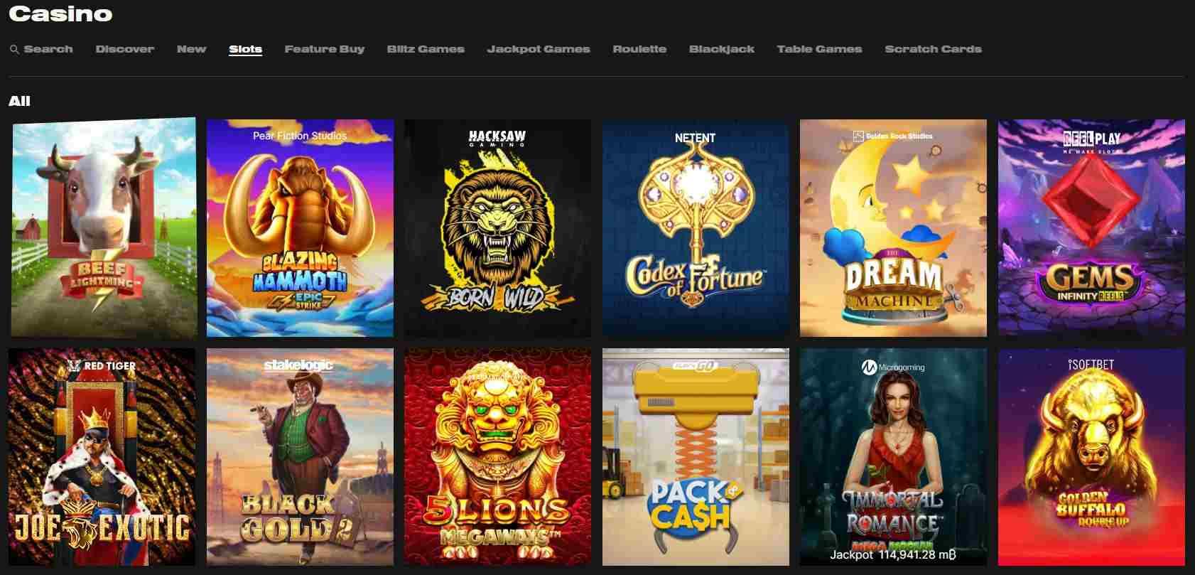 No Limits Casino games selection showing slot