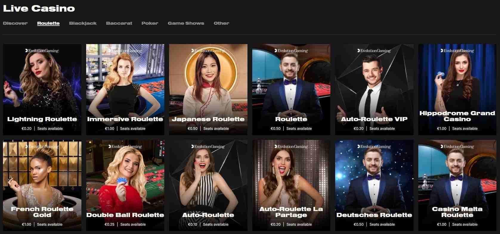 No Limits Casino live games page