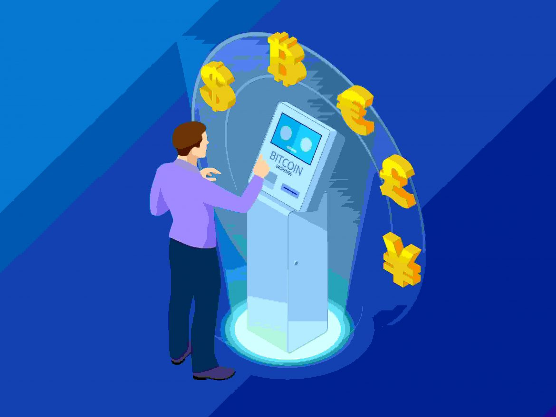 Man using crypto ATM