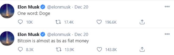 Elon musk tweeting about Dogecoin 1