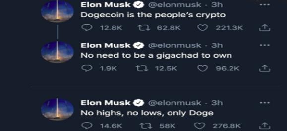 Elon musk tweeting about Dogecoin 2